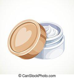 bianco, crema, isolato, fondo, cosmetica