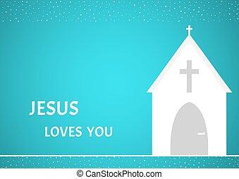 bianco, cristiano, cappella, con, croce, su, sfondo blu