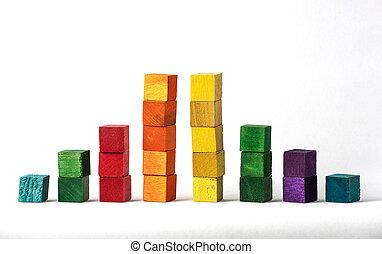 bianco, cubi, fondo, colorato