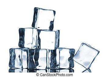 bianco, cubi, isolato, ghiaccio