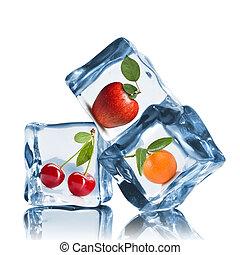 bianco, cubi, isolato, ghiaccio, frutte