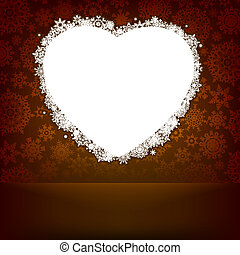 bianco, cuore, fatto, con, snowflakes., eps, 8