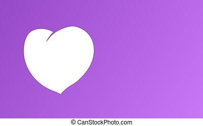 bianco, cuore, su, imporpori sfondo