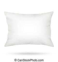 bianco, cuscino, isolato, fondo, vuoto