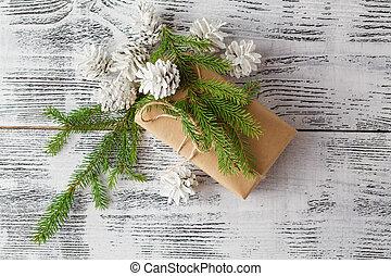 bianco, decorazioni, natale, fondo