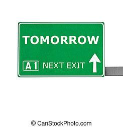 bianco, domani, isolato, segno strada