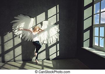 bianco, donna, angelo, fondo
