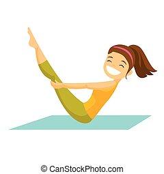 bianco, donna, exercises., caucasico, idoneità