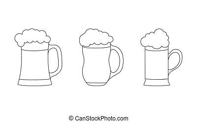 bianco, drink., contorno, vuoto, tazza, schiuma, fondo, isolato, tazza, set, birra