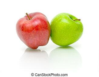 bianco, due, fondo, mele
