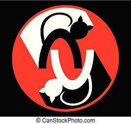 Formare Due Gatti Nero Logotipo Cerchio Bianco Vettore