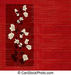 bianco, e, nero, fiore, stampa, su, legno, slatted, fondo