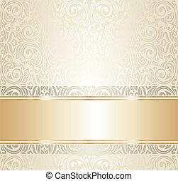 bianco, e, oro, matrimonio, ivitation
