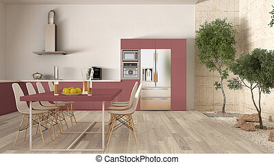bianco, e, rosso, cucina, con, interno, giardino, minimo, disegno interno