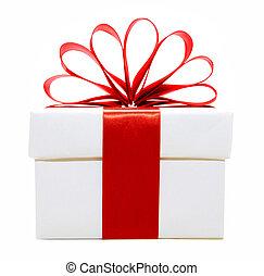 bianco, e, rosso, regalo natale, scatola