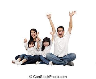 bianco, felice, isolato, famiglia, asiatico