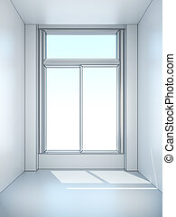 bianco, finestra, stanza vuota