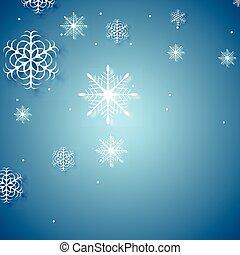 bianco, fiocchi neve, su, sfondo blu