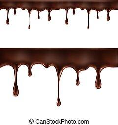 bianco, flussi, isolato, cioccolato
