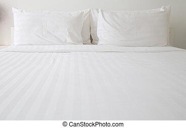 bianco, fogli letto, cuscini