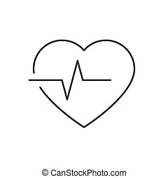 bianco, fondo., editable, colpo, linea, icona, battito cardiaco