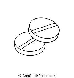 bianco, fondo., editable, colpo, linea, rotondo, icona, pillole