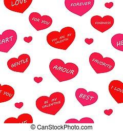 bianco, fondo., seamless, valentine, pattern:, isolato, parole, giorno, cuori