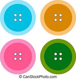 bianco, fondo., vettore, illustrazione, colorito, bottoni