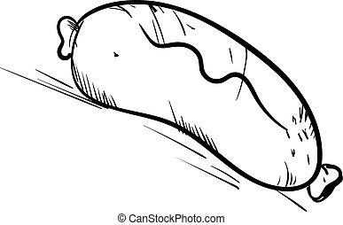 bianco, fondo., vettore, illustrazione, salsiccia, schizzo