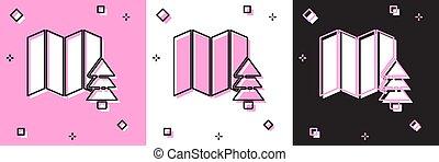 bianco, fondo., vettore, nero, posizione, set, foresta, mappa, rosa, icona, isolato, illustrazione