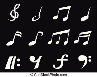 bianco, freehead, nota musica, icone
