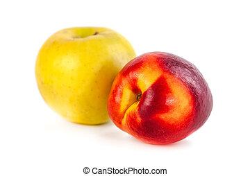 bianco, fresco, mela, pesca, fondo, organico, isolato