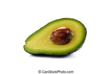 bianco, frutta, avocado, isolato, mezzo