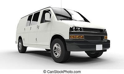bianco, furgone, basso, fronte