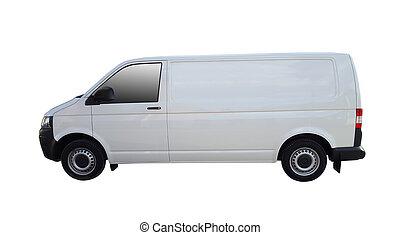 bianco, furgone consegna, per, beni, trasporto, isolato