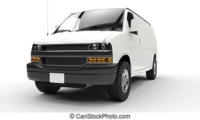 bianco, furgone, fronte, 2