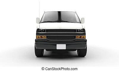 bianco, furgone, fronte