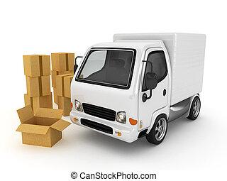 bianco, furgone, isolato, 3d