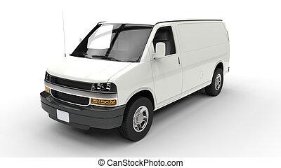 bianco, furgone, sala esposizione