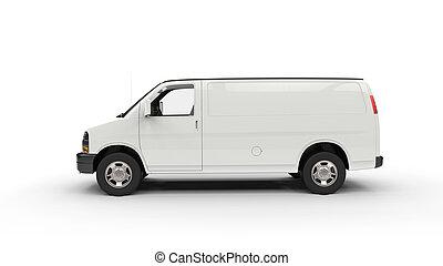 bianco, furgone, vista laterale