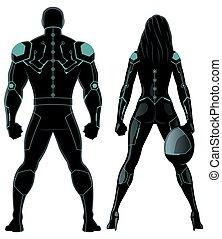 bianco, futuristico, superhero, coppia