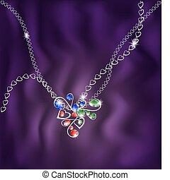 bianco, gioielleria, catena, pendente