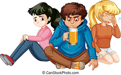 bianco, gruppo, adolescenti, fondo