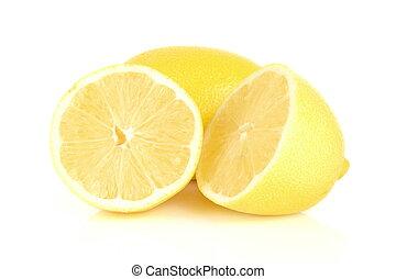 bianco, gruppo, isolato, limoni