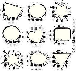 bianco, halftone, discorso, retro, bolle, comico