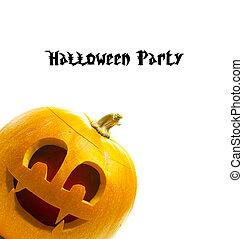 bianco,  Halloween, isolato, fondo, zucca
