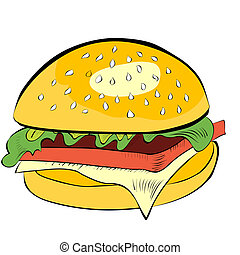 bianco, hamburger, isolato, fondo