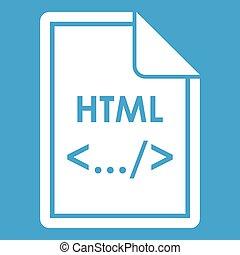 bianco, html, file, icona