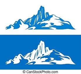 bianco, illustrations., silhouette, isolato, scandinavo, rampicante, andando gita, sport, montagne, blu