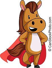 bianco, illustrazione, capo, cavallo rosso, vettore, fondo.